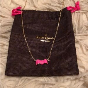 Kate spade bow necklace. Adjustable, pink